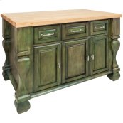 "52-5/8"" x 32-3/8"" x 35-1/4"" Aqua green furniture style kitchen island with ample cabinet storage as well as open shelving on the reverse"