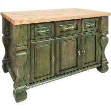 """52-5/8"""" x 32-3/8"""" x 35-1/4"""" Aqua green furniture style kitchen island with ample cabinet storage as well as open shelving on the reverse"""