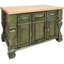 "52-5/8"" x 32-3/8"" x 35-1/4"" Furniture style kitchen island with Aqua Green finish."