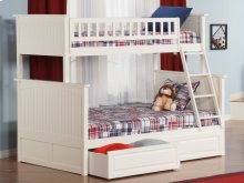 Nantucket Bunk Bed Twin over Full with Raised Panel Bed Drawers in White
