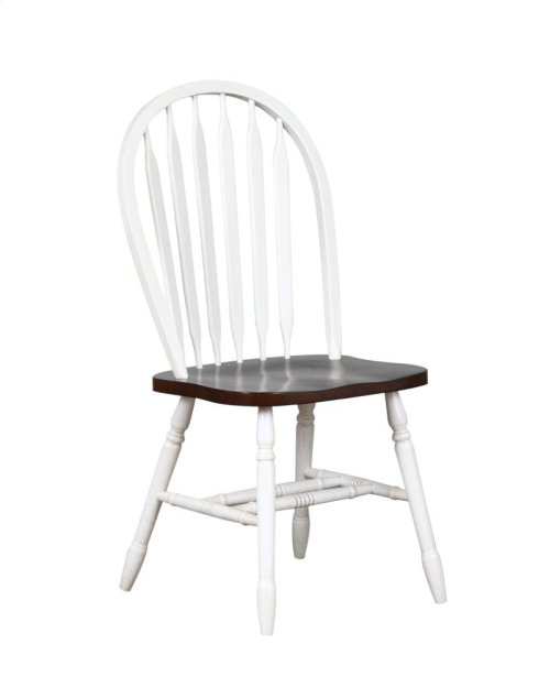 "Sunset Trading 38"" Arrowback Dining Chair in Antique White with Chestnut Seat - Sunset Trading"