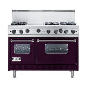 """Plum 48"""" Open Burner Commercial Depth Range - VGRC (48"""" wide, six burners 12"""" wide griddle/simmer plate)"""