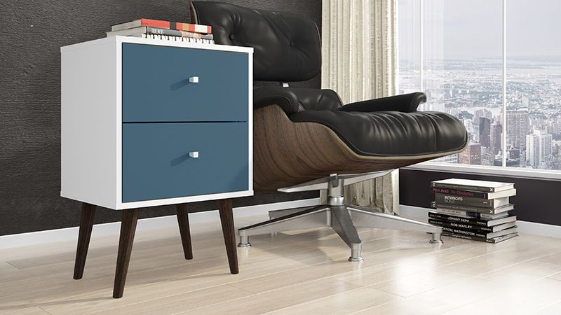 Liberty Mid Century - Modern Nightstand 2.0 with 2 Full Extension Drawers in White and Aqua Blue with Solid Wood Legs