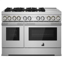 """RISE 48"""" Dual-Fuel Professional Range with Chrome-Infused Griddle and Steam Assist"""