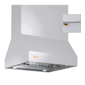 "66"" Wide Island Hood, Brass Accessory Rail on front and back"