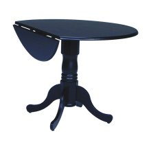 Round Dropleaf Pedestal Table in Black