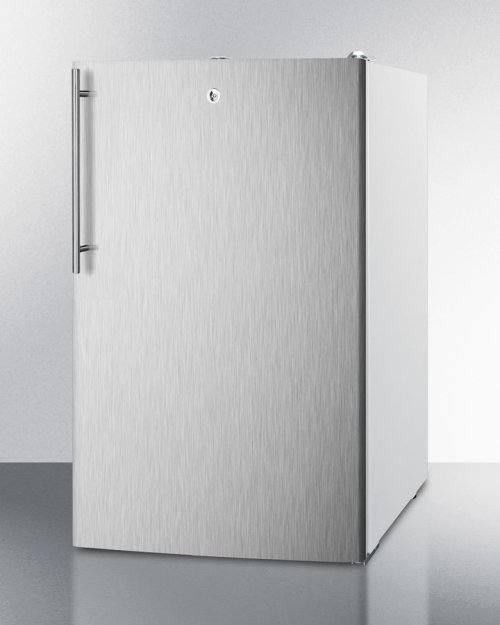 """Commercially Listed ADA Compliant 20"""" Wide Built-in Undercounter All-refrigerator, Auto Defrost W/lock, Stainless Steel Door, Thin Handle and White Cabinet"""