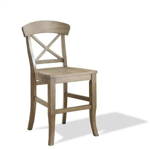 Regan - X-back Counter Stool - Weathered Driftwood Finish