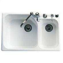 White Allia Fireclay 2 Bowl Drop-In Kitchen Sink