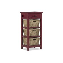Tuscan Retreat® 3 Basket 1 Drawer Open Side Stand - Antique Red