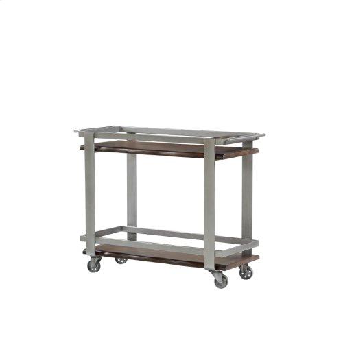Bar Cart-solid Mahogany Shelves W/metal Legs-on Castors