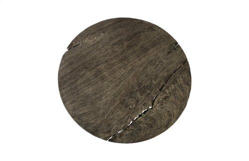 Chamcha Wood Dining Table, Grey Stone, Round, X Base