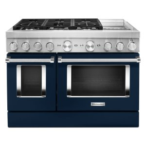 KitchenAidKitchenAid® 48'' Smart Commercial-Style Dual Fuel Range with Griddle - Ink Blue