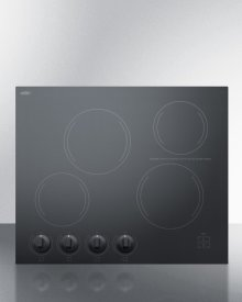 """24"""" Wide 4-burner Radiant Cooktop Made In France With Black Ceramic Glass Surface"""