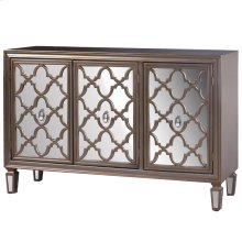 3 door champagne silver credenza with mirrored door fronts legs & Shelf inside each compartment