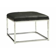 Contemporary Charcoal and Chrome Ottoman