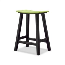 "Black & Lime Contempo 24"" Saddle Bar Stool"