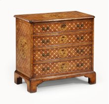 Floral Marquetry & Parquetry Small Chest of Drawers