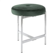 Chloe Vanity Stool - Chrome, Green Velvet