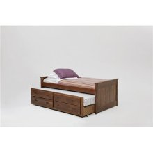 Heartland Twin Captain's Bed with Trundle and Storage with options: Chocolate, Twin