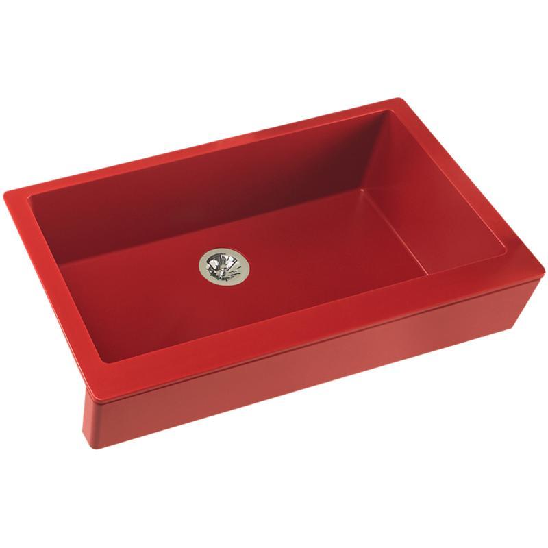 "Elkay Quartz Luxe 35-7/8"" x 20-15/16"" x 9"" Single Bowl Farmhouse Sink with Perfect Drain, Maraschino"