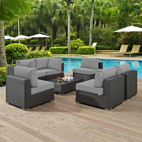 Sojourn 7 Piece Outdoor Patio Sunbrella® Sectional Set in Canvas Gray