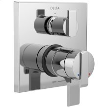 Chrome Angular Modern Monitor ® 17 Series Valve Trim with 3-Setting Integrated Diverter