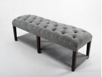 Button tufted bench with upholstered shelf. Product Image