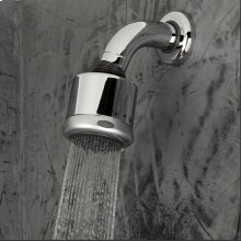 Wall-mount tilting round shower head with arm and flange, three jets.