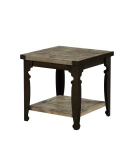 Square End Table-top Natural Reclaimed Pine Finish W/black Metal Legs