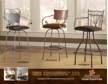 "24 or 30"" Swivel Barstool w/Iron Back, Microfiber Brown Seat"