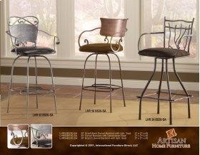 "24 or 30"" Swivel Barstool w/Iron Back, Microfiber Brown Seat / Arms"