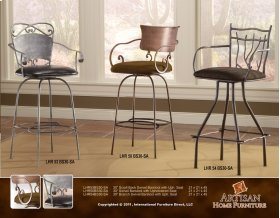 "24"" or 30 Swivel Hand Forged Barstool Armless w/Microfiber Seat"