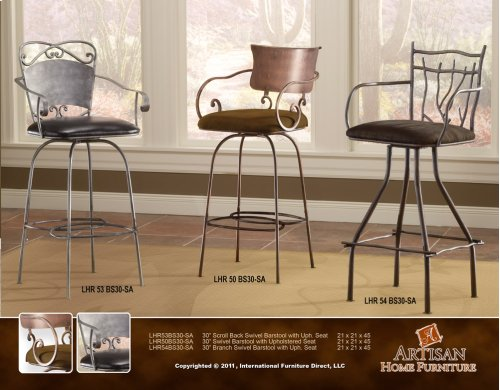 """24"""" or 30 Swivel Hand Forged Barstool w/Arms, Microfiber Seat"""