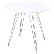 "Emerald Home Audrey Gathering Table-round 40"" Diameter White Top, Chrome Base D119-13-40wht"