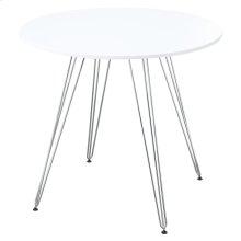 "Emerald Home Audrey Gathering Table-round 40"" Diameter White Top, Chrome Base D119-13-40wht"