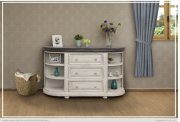 3 Drawers w/ 6 Shelves Console White & Stone Finish Product Image