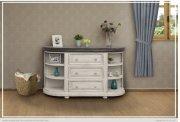 3 Drawers w/ 6 Shelves Console White & Stone Finish Product Image