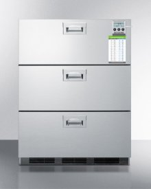 ADA Compliant Commercially Approved Three-drawer Refrigerator In Stainless Steel for Built-in Use, With Temperature Alarm, Hospital Grade Cord, and Internal Fan