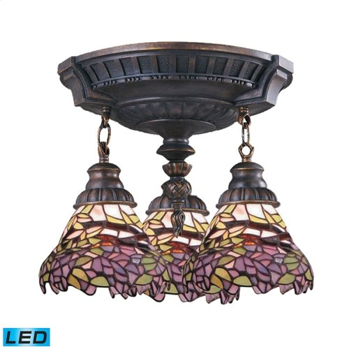 Mix-N-Match 3-Light Semi Flush in Aged Walnut with Tiffany Style Glass - Includes LED Bulbs