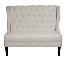 Tufted Shelter Wing Entryway Bench in Oatmeal Beige