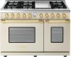 Range DECO 48'' Classic Cream matte, Gold 6 gas, griddle and 2 electric ovens