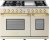 Additional Range DECO 48'' Classic Cream matte, Gold 6 gas, griddle and 2 electric ovens