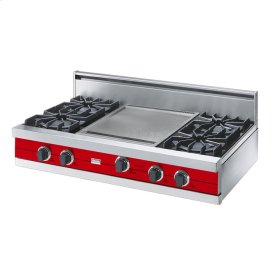 "Racing Red 42"" Open Burner Rangetop - VGRT (42"" wide, four burners 18"" wide griddle/simmer plate)"