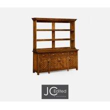 Country Walnut Parquet Welsh Dresser with Strap Handles