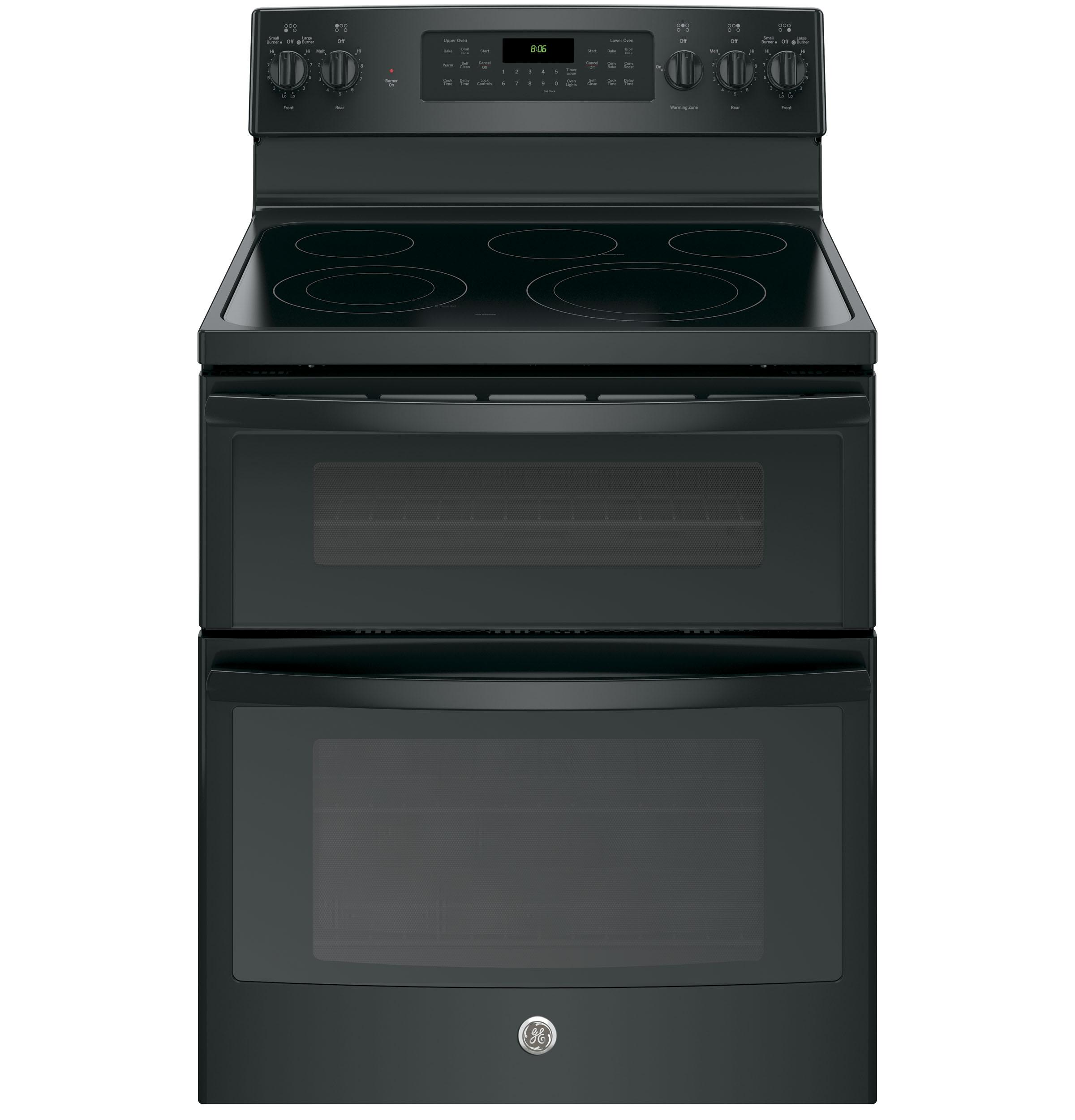 """GE(R) 30"""" Free-Standing Electric Double Oven Convection Range  BLACK"""
