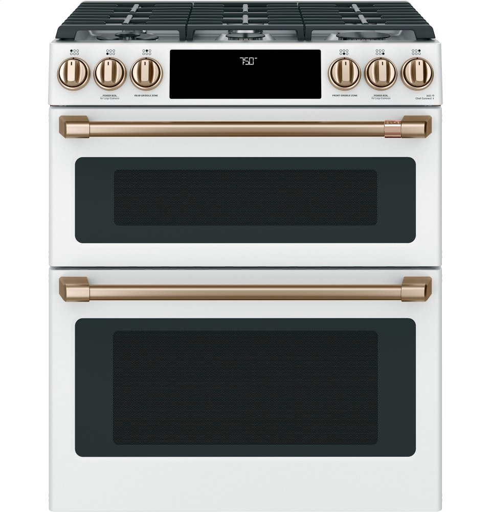 "Caf(eback) 30"" Smart Slide-In, Front-Control, Gas Double-Oven Range with Convection Photo #1"
