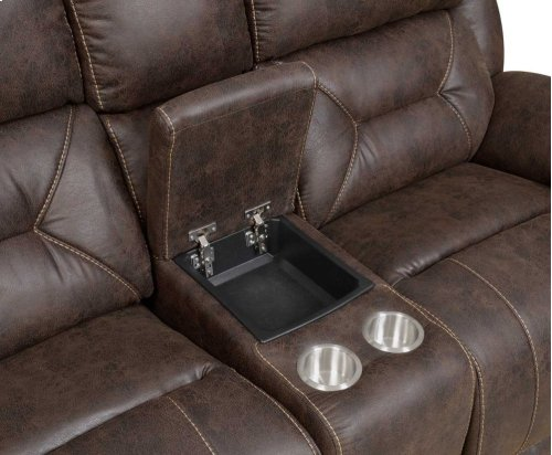 """Aria Pwr-Pwr Loveseat w/ Console,Saddle Brown,77""""x43""""x43"""