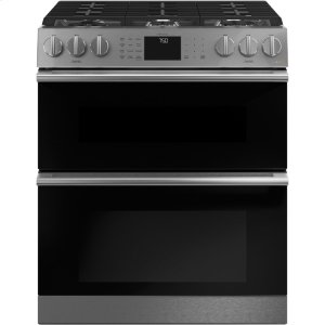 "Cafe AppliancesCaf(eback) 30"" Smart Slide-In, Front-Control, Gas Double-Oven Range with Convection in Platinum Glass"