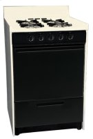 "Bisque gas range in slim 24"" width with pilot light ignition and black glass door; replaces STM610CEHJ Product Image"